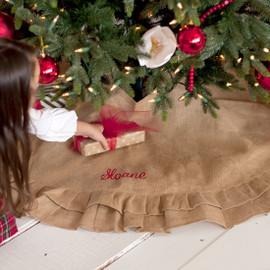 Monogram Rustic Burlap Christmas Tree Skirt