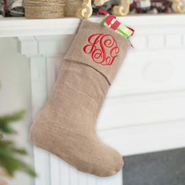 Personalized Rustic Burlap Christmas Stocking