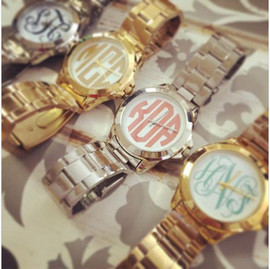 Gold Boyfriend Watch - Monogram Personalized