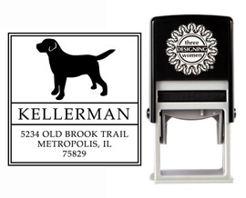 """""""Puppy Love"""" Self-Inking Personalized Square Dog Design Address Stamp - CS3631"""