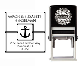 Nautical Anchor Self-Inking Personalized Square Design Address Stamp - CS3262