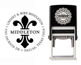 Fleur de Lis Self-Inking Personalized Round Design Address Stamp - CS3290