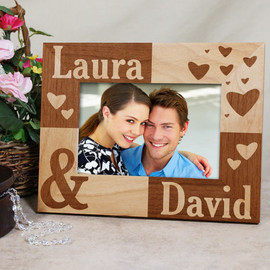 Names & Hearts Personalized Wood Picture Frame - Valentine's Day Gift - 3 Sizes
