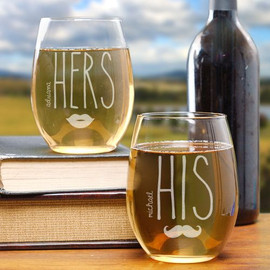 His & Hers Engraved Stemless Personalized Wine Glass Glasses Gift Set of 2