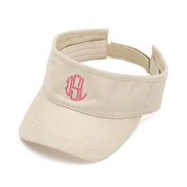 Khaki Embroidered Monogram Twill Cotton Visor