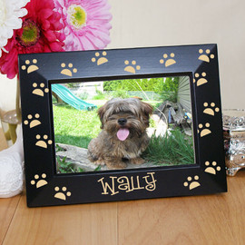 Engraved Paw Prints Black Pet Picture Frame - 2 Sizes Available