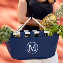 Navy Market Tote with Embroidered Initial