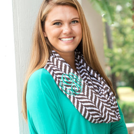 Taupe Herringbone Infinity Scarf with Embroidered Monogram