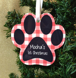 Paw Print Personalized Christmas Ornament Memorial