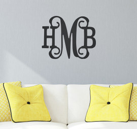 Classic Vine 3 Initial Monogram - Unfinished Door Hanger or Wall Accent