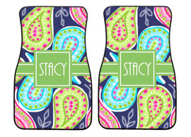 Navy Paisley Preppy Personalized Front Car Mats (Set of 2)