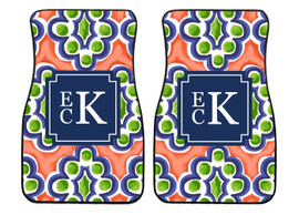 Mediterranean Tile Preppy Personalized Front Car Mats (Set of 2)