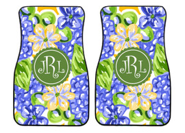 Blue Hydrangea Preppy Personalized Front Car Mats (Set of 2)