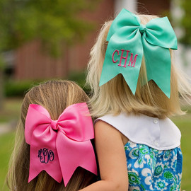 Mint Green & Hot Pink Monogram Hair Bows