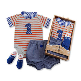 """My First Birthday"" Baby Aspen 3-Piece Dapper Dude Outfit"