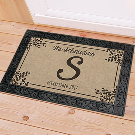 Personalized Monogram Family Name Doormat Door Floor Mat - 4 Color Options Black