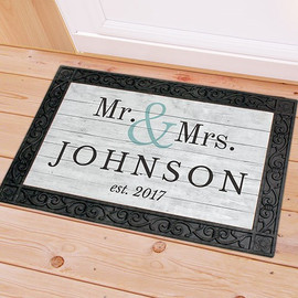 Mr. & Mrs. Couples Personalized Last Name Doormat