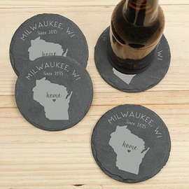"Home State Personalized Black Slate 4"" Coaster - Set of 4"