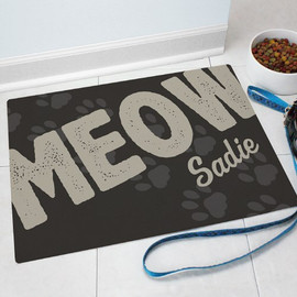 """Personalized """"MEOW"""" Cat Themed Door Mat"""