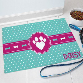 """Love Paw"" Pet Dog Food Mat Personalized GIFT - Heart Polka Dot Custom Floor Mat"