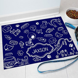 "Navy ""Cat Love"" Pet Food Mat Personalized GIFT - Solid Color Custom Floor Mat"