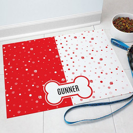 "Red ""Paw-ko Dots"" Polka Dot Pet Food Dog or Cat Mat Personalized GIFT - Custom Floor Mat"