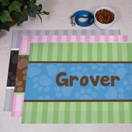 Modern Stripes Paw Print Pet Food Mat Dog or Cat Personalized - Custom Floor Mat