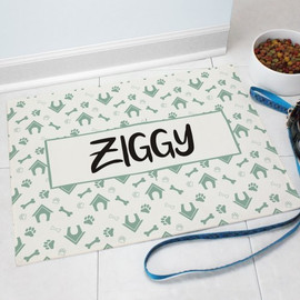 """Dog House"" Pet Food Personalized Mat GIFT - Custom Floor Mat with Dog Theme"