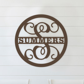 Family Name Circle Monogram Unfinished Door Hanger or Wall Accent