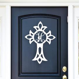 Religious Cross Monogram Unfinished Door Hanger or Wall Accent