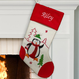 Personalized White and Red Penguin Stocking