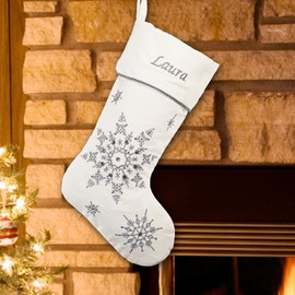 Personalized Bedazzled Silver Snowflake Christmas Stocking