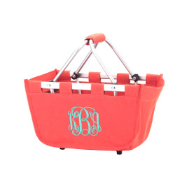 Coral Mini Market Tote with Monogram