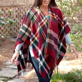 Navy & Garnet Plaid Kennedy Shawl with Fringe