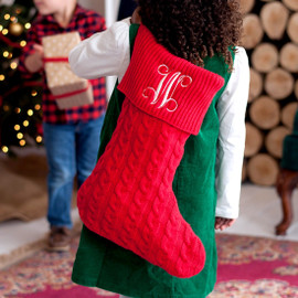 Red Knit Christmas Stocking with Embroidered Monogram