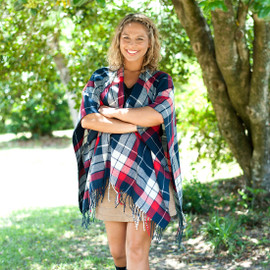 Red & Navy Plaid Personalized Kennedy Shawl Scarf