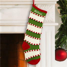 Personalized Green and White Stripe Knit Stocking