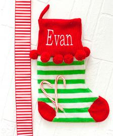 Personalized Green Stripes Pom Pom Christmas Stocking