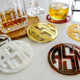 Gatsby Collection Monogram Acrylic Coasters