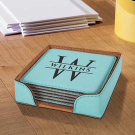 Vegan Leather Monogram Coasters Set of 6