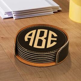 Vegan Leather Round Monogram Coasters Set of 6