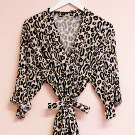 Leopard Ruffle Trim Changing Robe