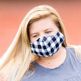 Black Buffalo Check Adjustable Face Mask