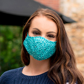 Teal Leopard Adjustable Face Mask