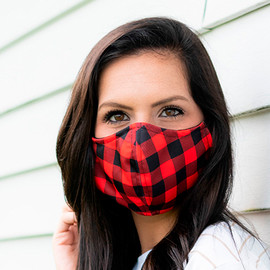 Red & Black Buffalo Check Adjustable Face Mask