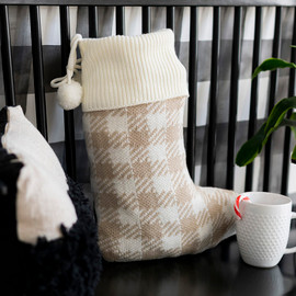 Tan Buffalo Check Knit Christmas Stocking