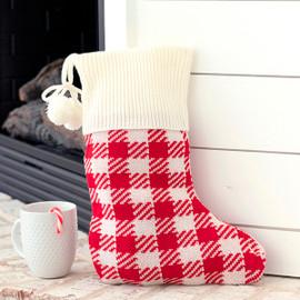 Red Buffalo Check Knit Christmas Stocking