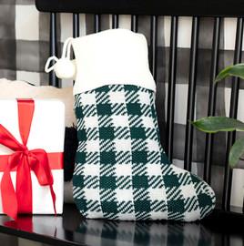 Green Buffalo Check Knit Christmas Stocking