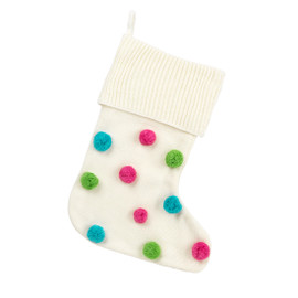 Christmas Stocking with Multi-Color Pom Poms