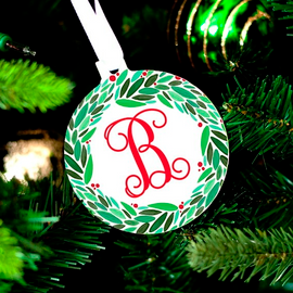 Holly Wreath Monogram Christmas Ornament